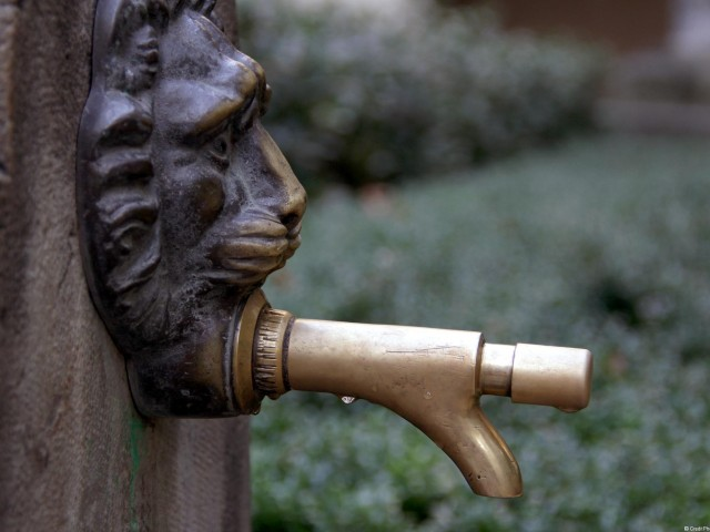 Robinet cuivre à poussoir, tête de Lyon